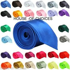 NEW MENS TIES SLIM SOLID COLOR PLAIN SMART THIN SATIN PARTY WEDDING NECK TIE