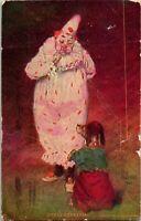 "Vtg Postcard Artist Signed O Gross - ""Dress Rehearsal"" - Clown With Dog"
