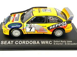 1:43 Scale Altaya De Agostini Seat Cordoba WRC Safari Rally Car - D Auriol 2000