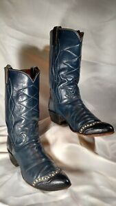 VINTAGE TONY LAMA WOMEN'S COWBOY BOOTS BLUE WITH LIZARD WING TIP SIZE 8 A