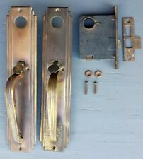 Antique Vintage Deco Brass Exterior Entry Door Lockset Handle Pull Plate Lock