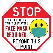 Stop Face Mask Required Beyond this Point 12x12 Aluminum Sign Made in USA UV Pro