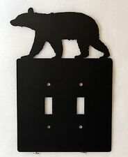 BEAR Double Light Switch Plate Cover Wildlife Lodge Cabin Rustic Decor Metal Art