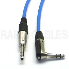 """2m 90deg Stereo TRS 1/4"""" Jack Guitar Lead Cable Blue Right Angle to Straight"""