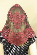 Wine Black Spanish style veils and mantilla Catholic church chapel lace L