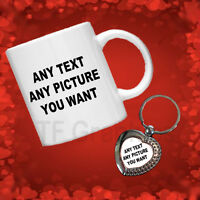 Valentines Day Gift Set, Personalised Photo Mug and Silver Effect Heart Keyring