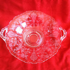 CAMBRIDGE ROSE POINT ELEGANT ETCHED HANDLED PLATE 8INCHES LONG 8 1/2 INCHES WIDE