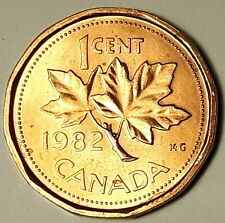 1982 CANADA 1 Cent Uncirculated BU Copper Penny From Mint Roll UNC