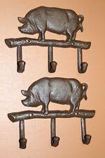 Farm Pig Bath Towel Hooks Cast Iron, 2 items H-120