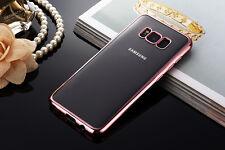Samsung S8 Color Bumper Silicone Clear TPU Slim Back Cover Case ROSE GOLD