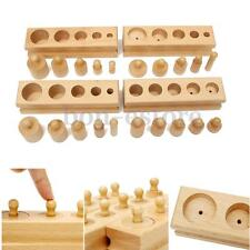 Knobbed Cylinder Blocks Family Set Wooden Montessori Educational Material New