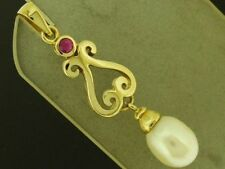 PE056- Real 9ct SOLID Gold NATURAL Ruby & Pearl DROP Pendant Victorian Scroll