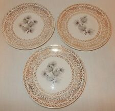 """Set of 3 Lifetime China Co Pine Cone 6.25"""" Bread Dessert Plates Gold Scrolling"""