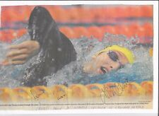 IAN THORPE - OLYMPIC GOLD MEDALLIST - HAND SIGNED NEWS ARTICLE PHOTOGRAPH