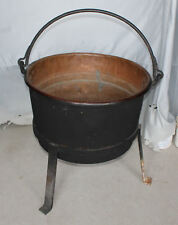 Antique 26″ diameter Copper Apple Butter Kettle Cauldron Plus Brush and Iron Sta