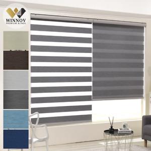 WINNOV 95% Blackout Window Blinds Room Darkening Combi Roller Shade Custom Made