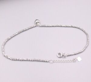 Pure Au750 18Kt White Gold Chain Women Laser Bead Link Heart Anklets 3.4-3.8g