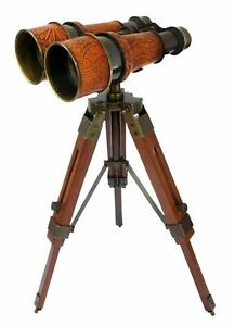 Antique Brass Binocular Telescope with Wooden Tripod Stand Collectible Gift Item
