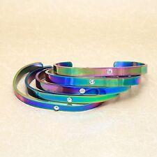 Rainbow Fashion Jewellery Bracelet Bangle Crystal Stainless Steel Blank Cuff
