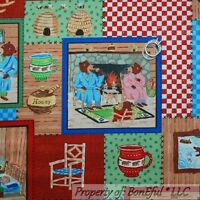 BonEful Fabric FQ Cotton Quilt 3 Little Bear Baby Boy Bumble Bee Honey Patchwork