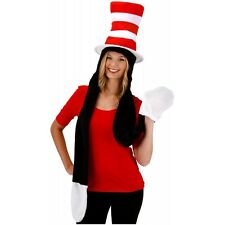 Cat in the Hat Hat with Attached Scarf & Gloves Adult Funny Costume Fancy Dress