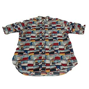 Nautica Mens Navy Blue Large Shirt Short Sleeve Sail Boat All Over Print Button
