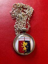 Italian Football GENOA Necklace Silver Styled  Unique Raised Glass Pendant