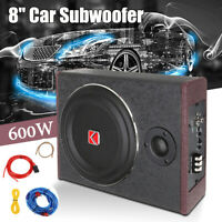 8'' Inch Car Enclosure Subwoofer Sub Woofer 600W Amplifier Stereo Slim Amp Audio