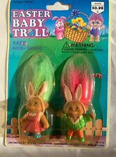 """Vintage Sealed Easter Baby Troll Duo - 2"""" Soma Troll Dolls - New"""