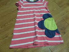 guc/girls mini boden ss pink& white striped dress-flower on-size 1 1/2y-2y