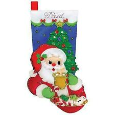 Design Works Felt Applique Christmas Stocking Kit Cocoa & Cookies Santa Complete