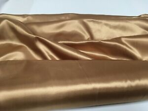 """OLD GOLD SATIN POLYESTER LINING FABRIC BRIDAL WEDDING PROM 60"""" WIDTH"""