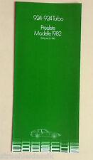 PORSCHE 924 924 Turbo LISTINO PREZZI MODELLI 1982 WVK 121511