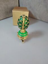 Faberge egg with castle and original box green beautiful vibrant colors