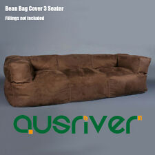 New Brown Suede 3 Seater Couch Bean Bag Cover with Armrest Luxury Seat BB3PBRN
