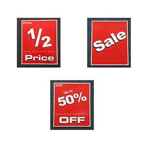 Large Sale Sign KIT - 10 Pieces of Cardboard Signs 1/2 50% Sale 50cm x 37.5cm