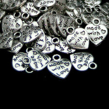 100pc Tibetan Silver Charms Beads Made With Love Jewelry Necklace Craft DIY 12mm