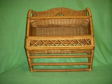 Vintage hanging Natural  wicker wall shelf with towel bar