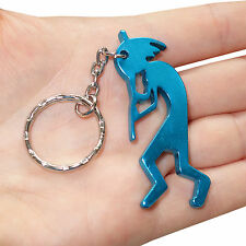 Turquoise Flute Player Key Ring Chain Fob Beer Bottle Opener Keyring Keychain