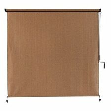 Exterior Cordless Roller Shade 10 x 8 ft Roll Up Crank Patio Outdoor Porch Blind