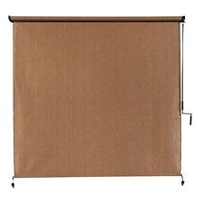 Exterior Cordless Roller Shade 8ft x 8ft Roll Up Crank Patio Outdoor Porch Blind