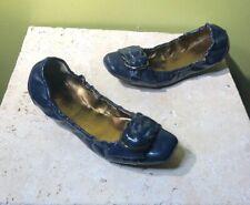 ELLEN TRACY PATENT BALLET FLATS WOMENS DARK BLUE GABBY SZ 7.5 M