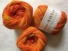 LOT of 3 Crystal Palace Deco Ribbon Yarn #9234 Orange Crush Pinstriped