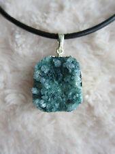 TITANIO Rivestito DRUZY Geode Quarzo Collana con pendente in agata. free-form
