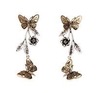 Vintage retro style butterfly and plum flower chandelier / stud earrings