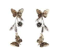 Vintage retro style butterfly and plum flower chandelier / stud earrings