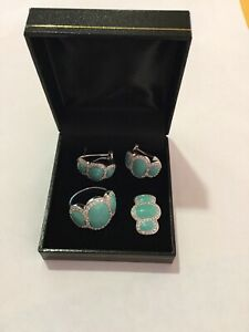 UNBRANDED Sterling Silver Set Turquoise Color Stone W/Earrings/Pendant/Ring