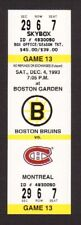 Montreal Canadiens vs Boston Bruins 1993-94 Unused Full Hockey Ticket