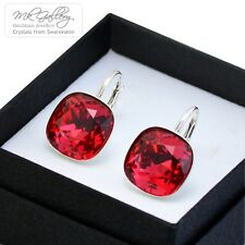 925 SILVER EARRINGS 10/12MM FANCY STONE - SCARLET RED- CRYSTALS FROM SWAROVSKI®