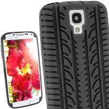 Schwarz Silikon Tasche für Samsung Galaxy S4 IV I9500 Reifen Hülle + Schutzfolie